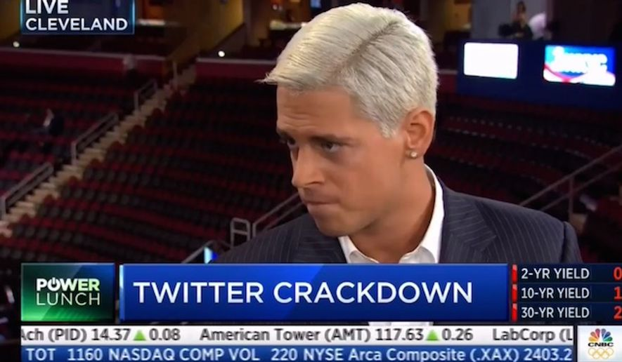 Breitbart technology editor Milo Yiannopoulos was given a lifetime ban by Twitter on Tuesday, July 19, 2016. (CNBC screenshot)