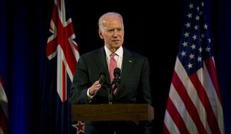 U.S. Vice President Joe Biden addresses guests at a business reception in Auckland, New Zealand Wednesday, July 20, 2016. Biden is in New Zealand for three days as part of a tour of the Pacific. (Dean Purcell/New Zealand Herald via AP) NEW ZEALAND OUT, AUSTRALIA OUT