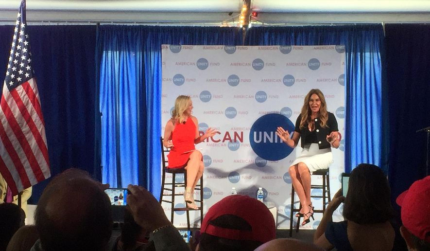Caitlyn Jenner, right, speaks at an American Unity Fund brunch at the Rock and Roll Hall of Fame in Cleveland on July 20, 2016, on the sidelines of the Republican National Convention. Jenner said it was easier to come out as transgender than it was as a Republican. The transgender activist and Olympic gold medalist is speaking at a breakfast at the Republican National Convention to promote LGBT inclusion in the GOP.  On the dais with Jenner is Margaret Hoover of the American Unity Fund.  (AP Photo/Josh Lederman)