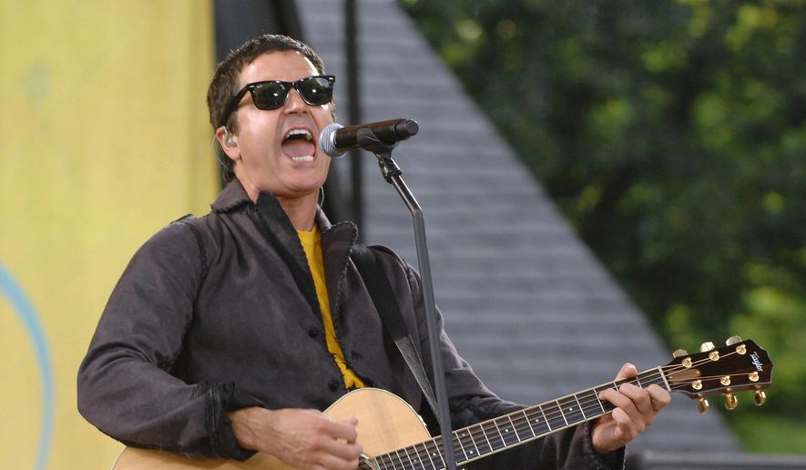 "Musician Stephan Jenkins of the music group Third Eye Blind performs on ABC's ""Good Morning America"" in New York in this July 17, 2009, file photo. Video shows Jenkins making political statements during a charity concert at the Rock and Roll Hall of Fame in Cleveland on Tuesday, July 19, 2016. (AP Photo/Peter Kramer, File)"