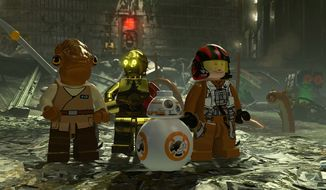 Admiral Ackbar, C-3PO, BB-8 and Poe Damron escape a trash compactor in the video game Lego Star Wars: The Force Awakens.