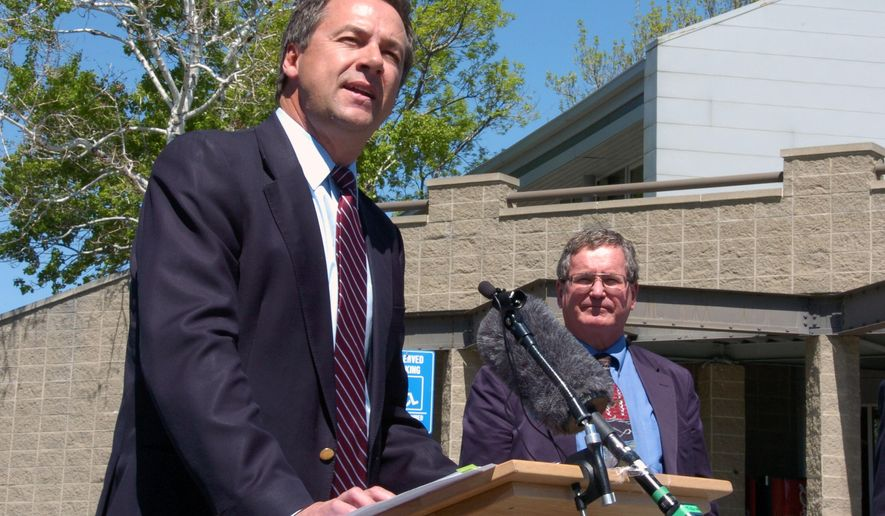 FILE- In this May 3, 2016, file photo, Montana Gov. Steve Bullock talks during a press conference in Billings, Mont. Bullock is proposing a tax-relief program for businesses that includes waivers and credits that he will present to the 2017 Montana Legislature if he is re-elected. (AP Photo/Matthew Brown, File)