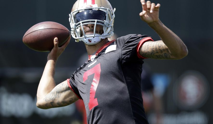 FILE - In this June 9, 2016, file photo, San Francisco 49ers quarterback Colin Kaepernick (7) throws during an NFL football practice in Santa Clara, Calif. Kaepernick is back following three surgeries and last season's benching, determined and ready to prove himself as a starting quarterback again. (AP Photo/Marcio Jose Sanchez, File)