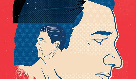 "Illustration on Ted Cruz' ploy to be ""Reaganesque"" by Linas Garsys/The Washington Times"