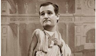 Illustration of Ted Cruz as Brutus by Alexander Hunter/The Washington Times
