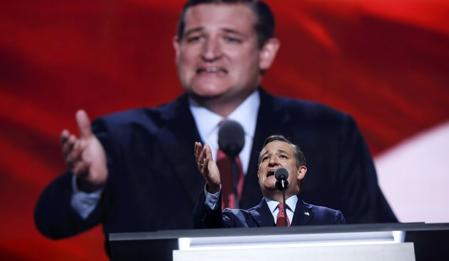 Sen. Ted Cruz, R-Texas, addresses the delegates during the third day session of the Republican National Convention in Cleveland, Wednesday, July 20, 2016. (AP Photo/Carolyn Kaster)