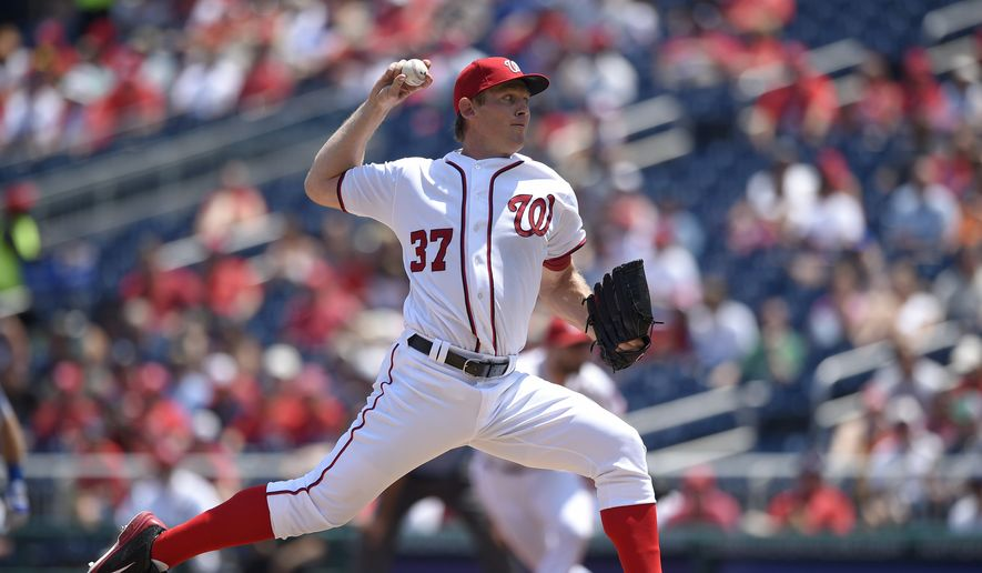 Washington Nationals starting pitcher Stephen Strasburg (37) delivers a pitch during the third inning of a baseball game against the Los Angeles Dodgers, Thursday, July 21, 2016, in Washington. (AP Photo/Nick Wass)