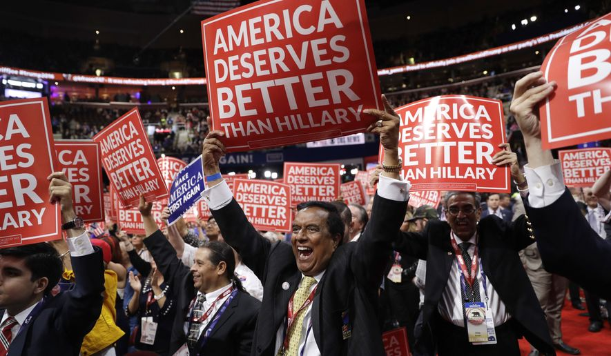 California delegates cheer during the third day session of the Republican National Convention in Cleveland, Wednesday, July 20, 2016. (AP Photo/John Locher)