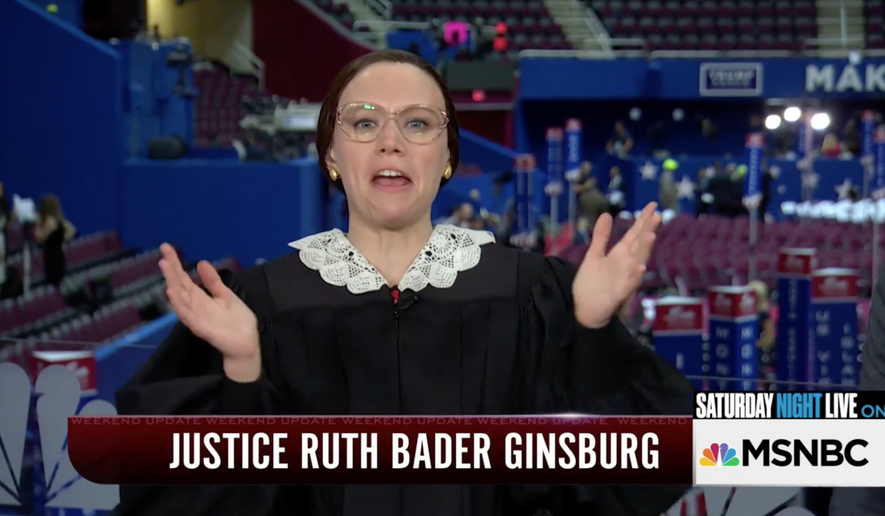 """Comedian Kate McKinnon portraying Associate Justice Ruth Bader Ginsburg in a special SNL """"Weekend Update"""" segment on MSNBC from the Republican National Convention. Captured from video on Twitter."""