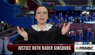 "Comedian Kate McKinnon portraying Associate Justice Ruth Bader Ginsburg in a special SNL ""Weekend Update"" segment on MSNBC from the Republican National Convention. Captured from video on Twitter."