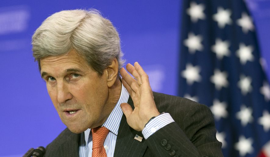 Secretary of State John Kerry listens to a reporter's questions while he holds a news conference at the conclusion of the Meeting of the Ministers of the Global Coalition to Counter ISIL at the State Department in Washington, Thursday, July 21, 2016. (AP Photo/Cliff Owen)