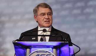 Commissioner John Swofford announces an ACC/ESPN Network during a news conference at the Atlantic Coast Conference Football Kickoff in Charlotte, N.C., Thursday, July 21, 2016. (AP Photo/Chuck Burton)