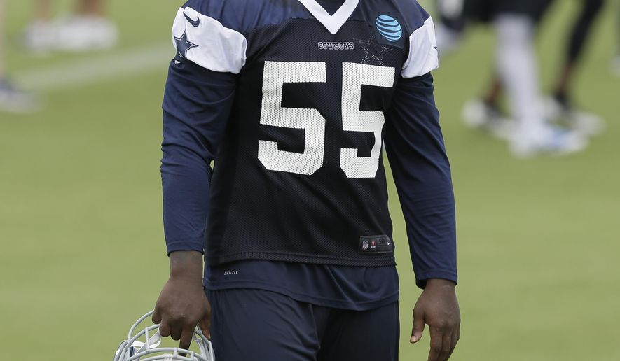 FILE - In this June 14, 2016, file photo, Dallas Cowboys linebacker Rolando McClain walks the field during the NFL football team's minicamp at Valley Ranch in Irving, Texas. McClain will miss the first 10 games for on a substance-abuse suspension, and might even get released before camp because the mercurial linebacker will be out more than half the season anyway. (AP Photo/LM Otero, File)