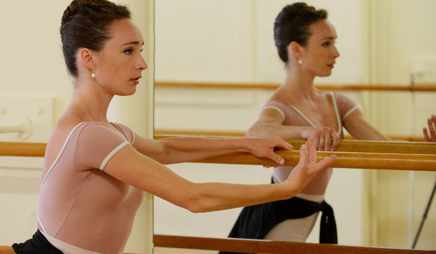 ADVANCE FOR USE SATURDAY, JULY 23, 2016 AND THEREAFTER - In this  June 10, 2016 photo, Catherine Laska, practices her ballet at the School of Ballet in Crystal Lake, Ill. Laska who just graduated from Prairie Ridge High School in Crystal Lake, is among just 12 women out of 375 who auditioned, accepted by the elite dance division of The Juilliard School in New York City. (Bob Chwedyk/Daily Herald, via AP)