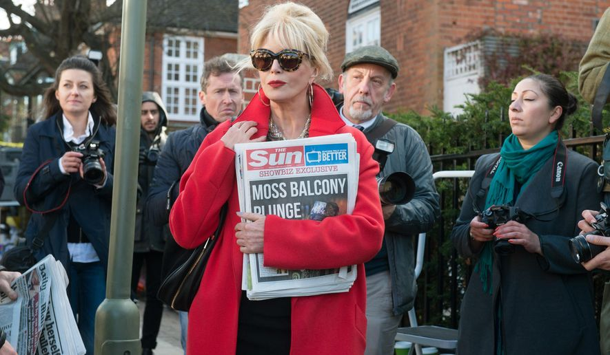 "In this image released by Fox Searchlight Pictures, Joanna Lumley appears in a scene from the film, ""Absolutley Fabulous: The Movie."" (David Appleby/Fox Searchlight Pictures via AP)"