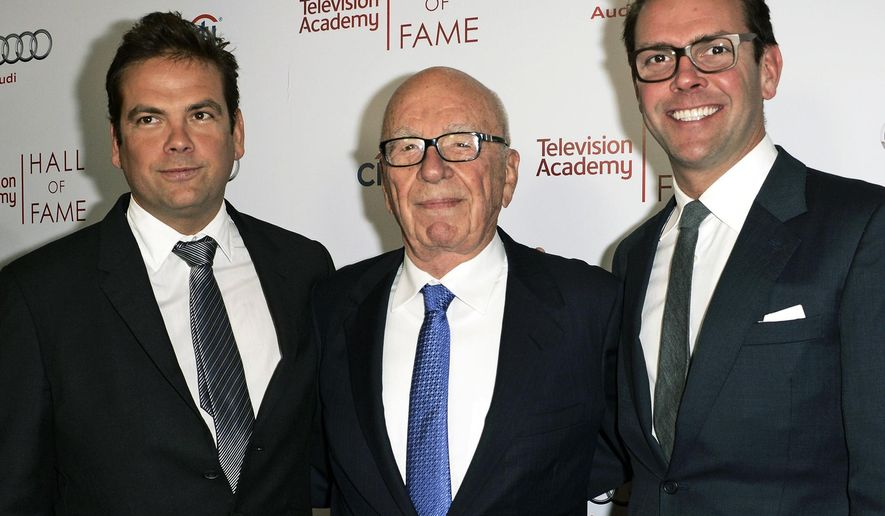 FILE - In this March 11, 2014 file photo, News Corp. Exeuctive Chairman Rupert Murdoch, center, and his sons, Lachlan, left, and James Murdoch attend the 2014 Television Academy Hall of Fame in Beverly Hills, Calif. Roger Ailes' successor at Fox News faces a delicate task in changing the culture of a news organization forever identified with one man, and push it forward for a new generation without alienating an audience that has made it a tremendously lucrative business. Ailes, who Rupert Murdoch hired to invent Fox News two decades ago, resigned under pressure Thursday, July 21, 2016, amid accusations of sexual harassment. (Photo by Dan Steinberg/Invision/AP Images, File)