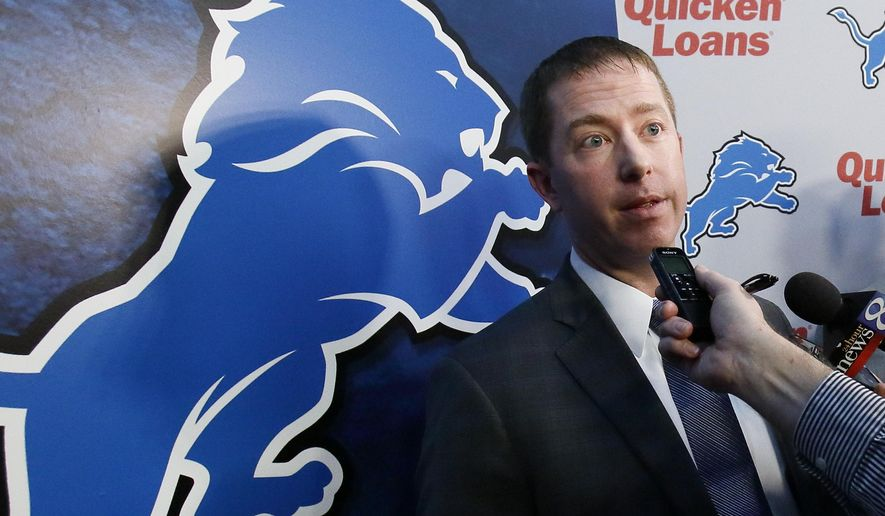 FILE - In this Jan. 11, 2016, file photo, Detroit Lions general manager Bob Quinn answers reporters questions after being introduced during a news conference in Allen Park, Mich. (AP Photo/Duane Burleson, File)