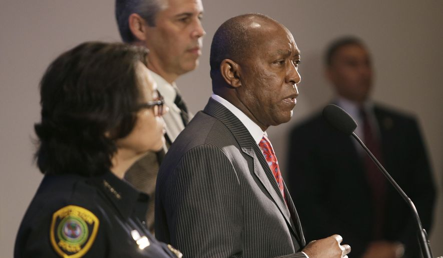 Houston Mayor Sylvester Turner speaks to the media during a press conference, Thursday, July 21, 2016, in Houston. Officials in Houston released video footage Thursday, taken from the body camera of one of the officers showing police officers shooting Braziel, who police said had been holding a gun while standing in a street. (Mark Mulligan/Houston Chronicle via AP)
