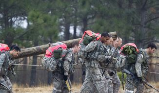 Army Special Forces candidates carry a log during a recent Special Forces Assessment and Selection class at Camp Mackall at Fort Bragg, North Carolina. Two female officers have qualified to undergo training to become Green Berets. (Photo courtesy of the Department of the Army) ** FILE **