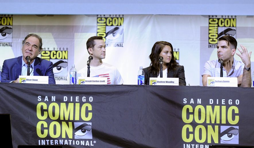 "Director/writer Oliver Stone, from left, Joseph Gordon-Levitt, Shailene Woodley and Zachary Quinto attend the ""Snowden"" panel on day 1 of Comic-Con International on Thursday, July 21, 2016, in San Diego. (Photo by Chris Pizzello/Invision/AP)"