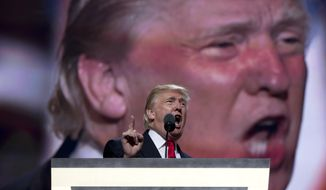 Republican Presidential Candidate Donald Trump speaks during the final day of the Republican National Convention in Cleveland, Thursday, July 21, 2016. (AP Photo/Carolyn Kaster)