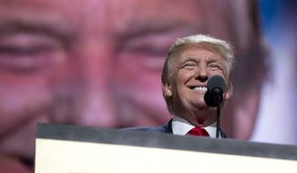 Republican Presidential Candidate Donald Trump pauses to smile as he speaks during the final day of the Republican National Convention in Cleveland, Thursday, July 21, 2016. (AP Photo/Carolyn Kaster)