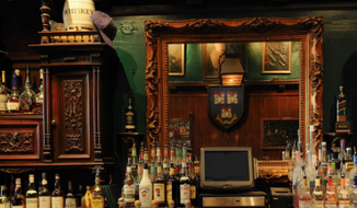 """Photo of the main bar in the Dubliner Irish pub on Capitol Hill in Washington, D.C., from the bar's official website. On July 21, 2016, the Dubliner hosted a """"wake"""" for the Republican Party, pegged to Donald Trump's official acceptance of the GOP presidential nomination."""