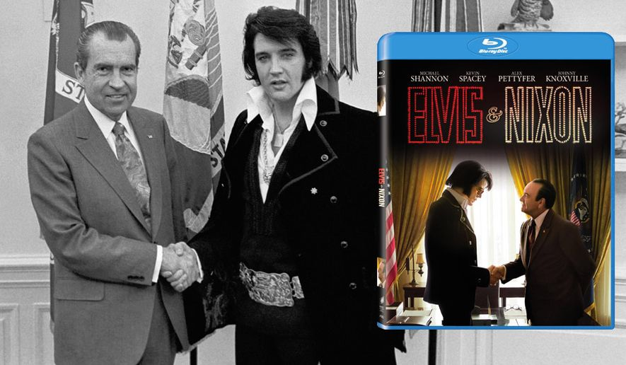 "Michael Shannon and Kevin Spacey star in ""Elvis & Nixon,"" now available on Blu-ray from Sony Pictures Home Entertainment."