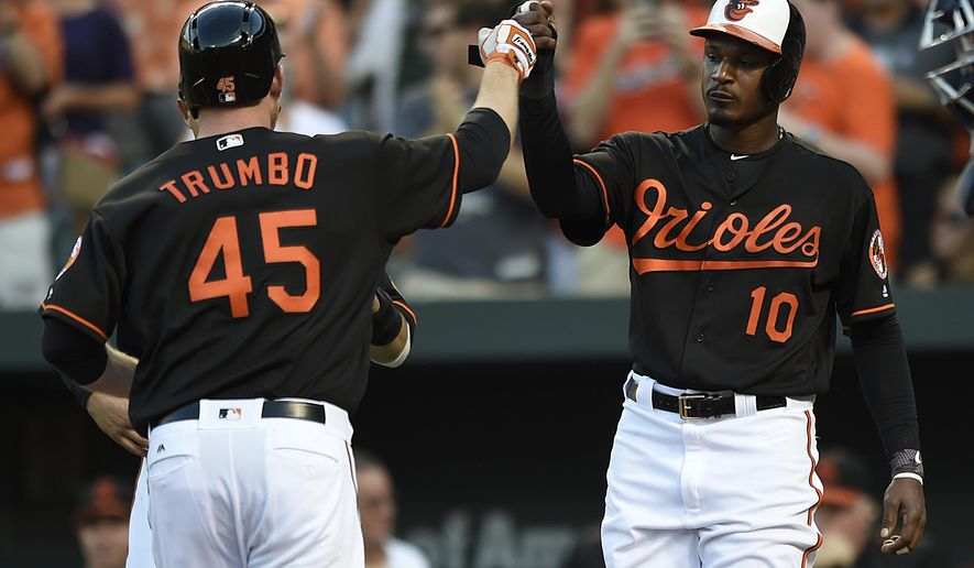 Baltimore Orioles' Adam Jones, right, congratulates Mark Trumbo for hitting a three-run home run against the Cleveland Indians in the first inning of a baseball game, Friday, July 22, 2016, in Baltimore. (AP Photo/Gail Burton)