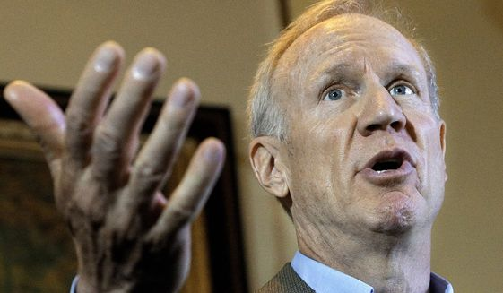 Illinois Gov. Bruce Rauner speaks to reporters in his office at the Illinois State Capitol in Springfield on June 27, 2016. (Associated Press) **FILE**
