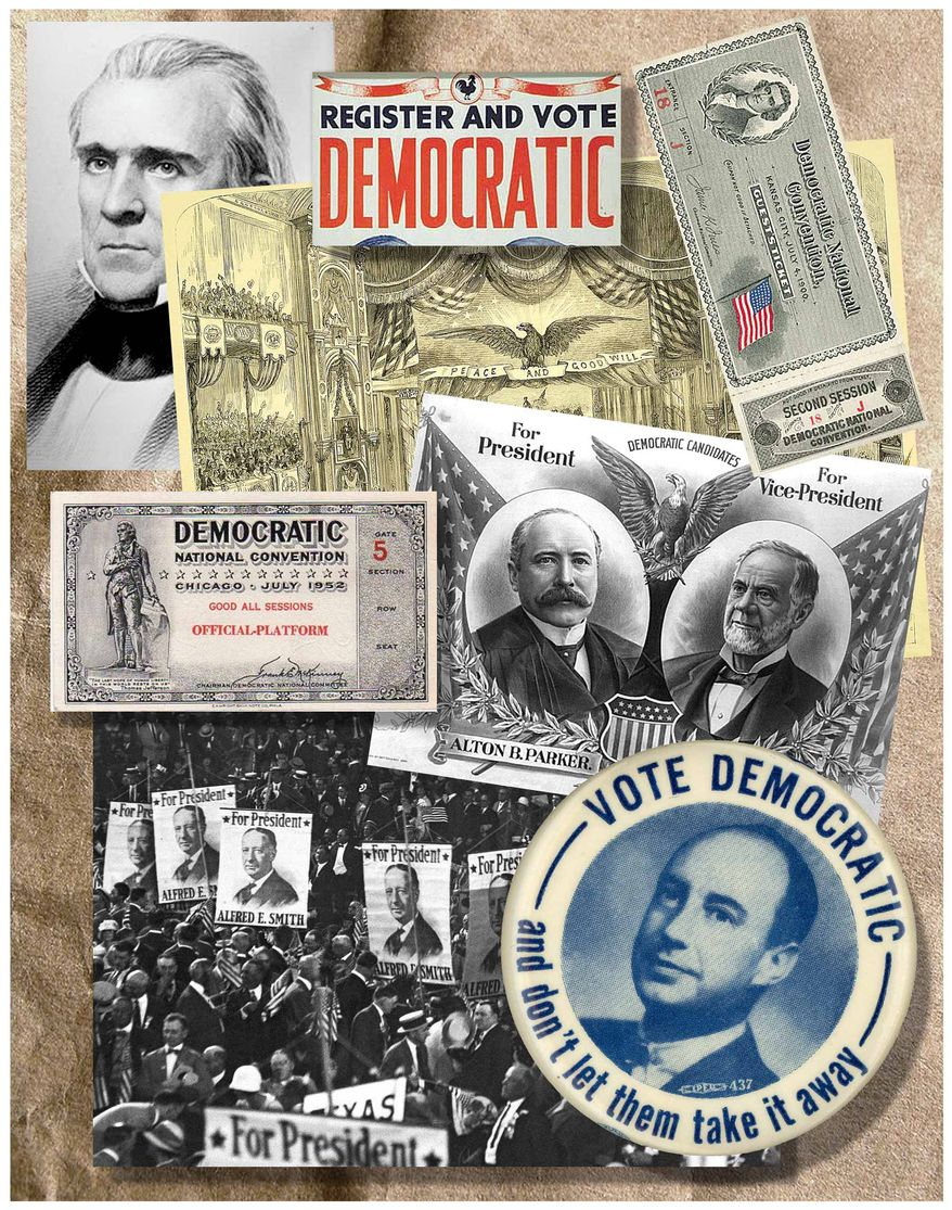 Illustration on the history of the Democratic Party convention by Alexander Hunter/The Washington Times