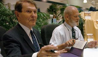 Tim LaHaye (left), shown here with co-author Jerry B. Jenkins, was a prolific writer of fiction and nonfiction best-sellers. He died Monday in San Diego days after suffering a stroke at age 90. (Associated Press)