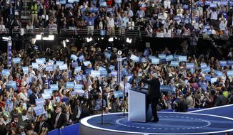 Sen. Bernie Sanders speaks during the first day of the Democratic National Convention on Monday in Philadelphia. (Associated Press)