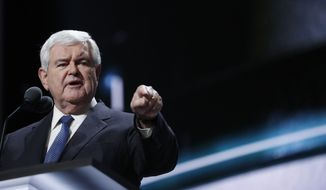 Former Speaker of the House Newt Gingrich speaks during the third day session of the Republican National Convention in Cleveland on July 20, 2016. (Associated Press) **FILE**