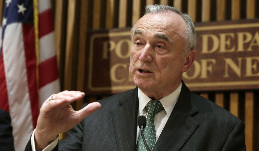 New York City Police Commissioner William Bratton speaks during a news conference at police headquarters in New York in this Jan. 12, 2015, file photo. On Monday, July 25, 2016, Bratton told reporters he would not remain commissioner beyond New York City Mayor Bill de Blasio's first term. (AP Photo/Richard Drew, File)