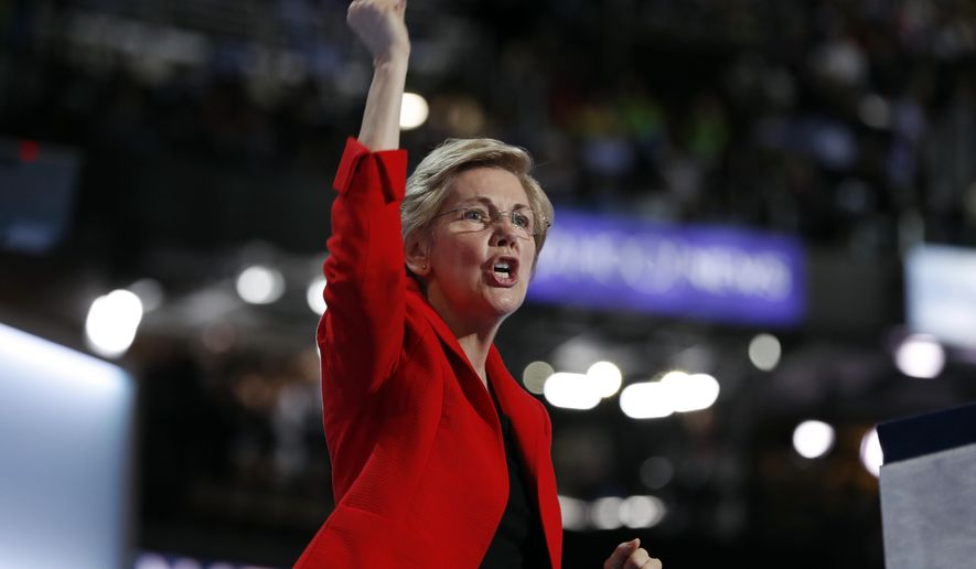 Sen. Elizabeth Warren, D-Mass., speaks during the first day of the Democratic National Convention in Philadelphia , Monday, July 25, 2016. (AP Photo/Carolyn Kaster)