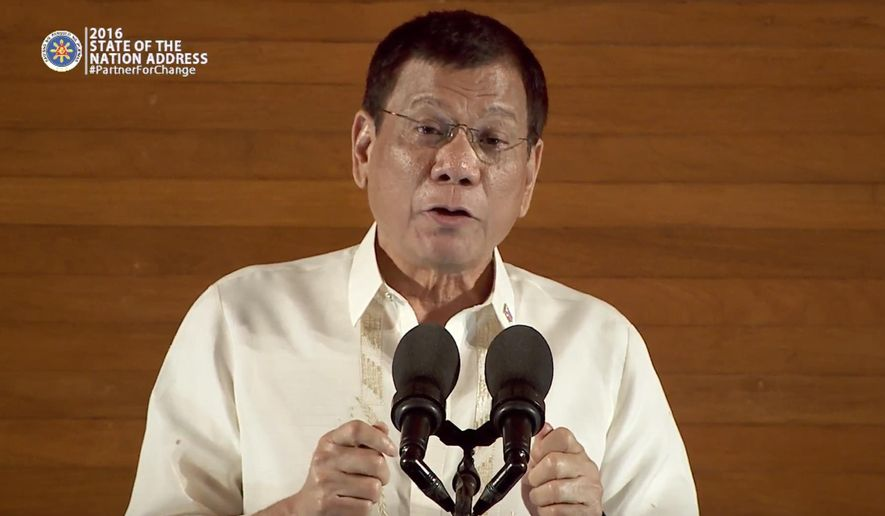 In this image made from video provided by Radio Television Malacanag, Philippine President Rodrigo Duterte speaks at his first state of the nation address Monday, July 25, 2016, before Congress in Manila, Philippines. Duterte has declared a unilateral cease-fire with communist guerrillas effectively immediately and asked the Maoist rebels to do the same to end decades of deadly violence and foster the resumption of peace talks. (Radio Television Malacanang via AP Video)