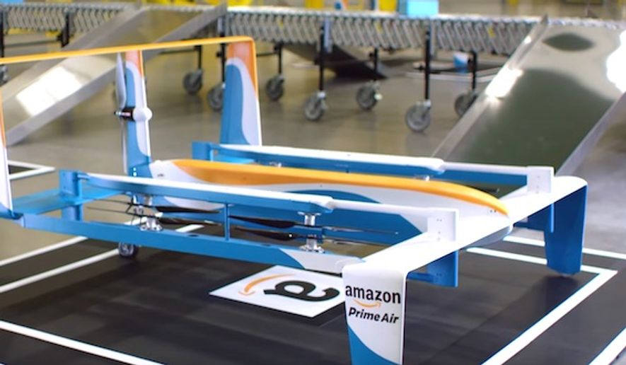 Amazon announced a deal with the British government on Monday, July 25, 2016, to begin testing its delivery drones. (YouTube, Amazon) ** FILE **
