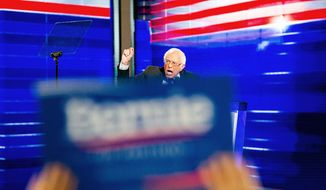 Former Democratic presidential candidate, Sen. Bernie Sanders, I-Vt., speaks during the first day of the Democratic National Convention in Philadelphia, Monday, July 25, 2016. (Sean Simmers/PennLive.com via AP)