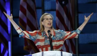 Actress Meryl Streep speaks during the second day of the Democratic National Convention in Philadelphia , Tuesday, July 26, 2016. (AP Photo/J. Scott Applewhite)