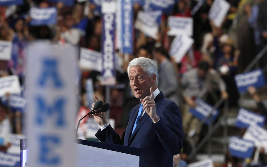 Former President Bill Clinton speaks during the second day of the Democratic National Convention on Tuesday in Philadelphia. (Associated Press)