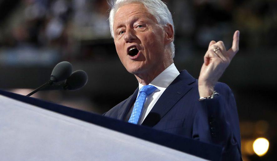 Former President Bill Clinton speaks during the second day session of the Democratic National Convention in Philadelphia, Tuesday, July 26, 2016. (AP Photo/Carolyn Kaster)