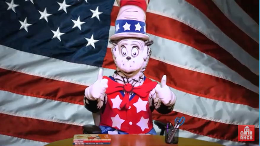 """Screen grab from a video for """"the Cat in the Hat for president."""" http://www.seussville.com/catinhat4prez/video"""