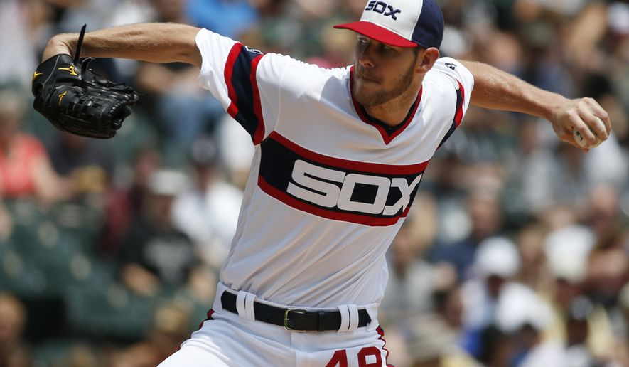 FILE - In this June 26, 2016, file photo, Chicago White Sox starter Chris Sale throws against the Toronto Blue Jays during a baseball game in Chicago. White Sox manager Robin Ventura insists he can work with Chris Sale despite the suspended ace's critical comments about the manager. Sale is serving a five-day, unpaid ban after he destroyed throwback uniforms the team was supposed to wear for his start Saturday, July 23. (AP Photo/Nam Y. Huh, File)