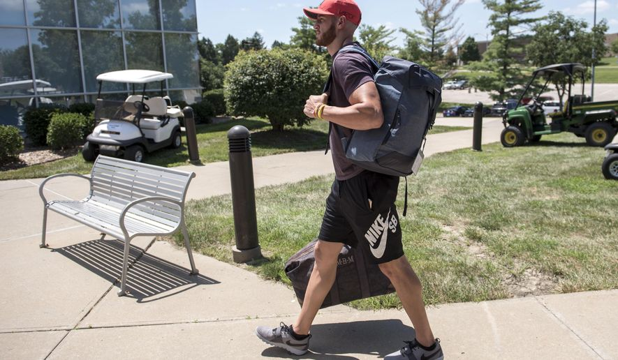 Kansas City Chiefs wide receiver Mitch Matthews walked into toward the dormitory as quarterbacks and rookies reported to training camp for the Kansas City Chiefs at Missouri Western State University on Tuesday, July 26, 2016 in St. Joseph, Mo. (Shane Keyser/The Kansas City Star via AP)