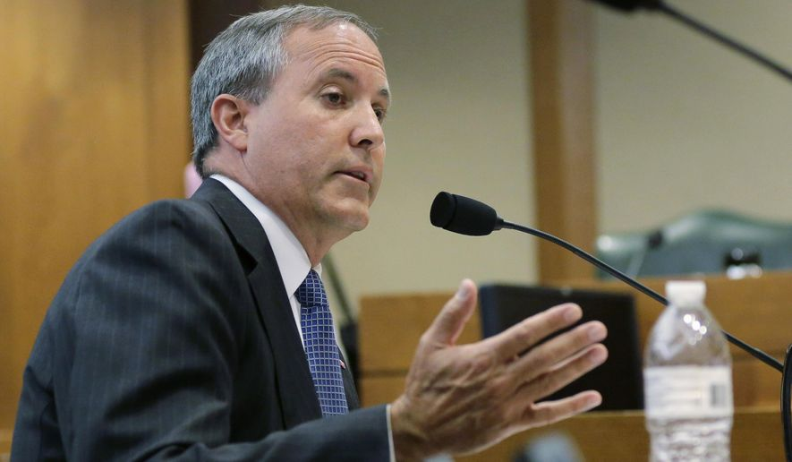 FILE - In this July 29, 2015, file photo, Texas Attorney General Ken Paxton speaks during a hearing in Austin, Texas. Paxton, who is under indictment on felony charges of duping investors in a tech startup, accepted $100,000 for his criminal defense from the head of a radiology provider while his office investigated the company for Medicaid fraud. (AP Photo/Eric Gay, File)