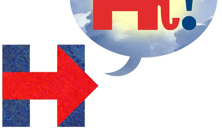 Illustration on the acceptance speech Hillary Clinton should make by Alexander Hunter/The Washington Times