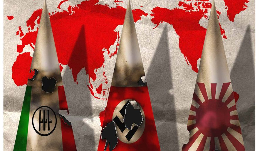Illustration on the ill advised attacks on the rest of the world by Axis powers by Alexander Hunter/The Washington Times