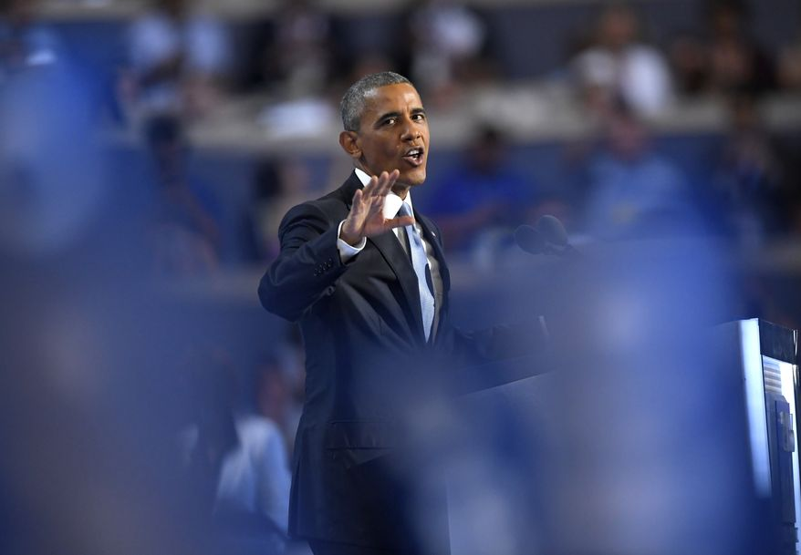 President Barack Obama speaks during the third day of the Democratic National Convention in Philadelphia , Wednesday, July 27, 2016. (AP Photo/Mark J. Terrill)