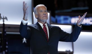 Vice President Joe Biden gestures as he takes the stage during the third day session of the Democratic National Convention in Philadelphia on July 27, 2016. (Associated Press) **FILE**